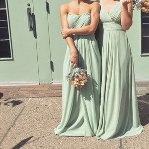 Bill Levcoff Pistachio Strapless Bridesmaid Dress